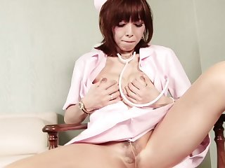 Tranny nurse tears open her sheer pantyhose and gets hard