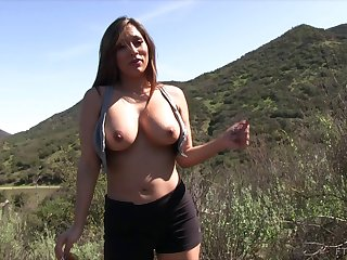 Chesty Reena gets naked during a hike and shows those big jugs