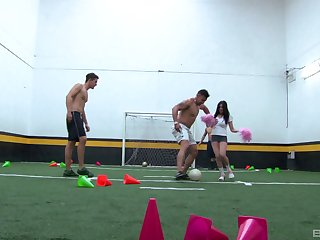 Andrea gets her pussy poked by many guys on the soccer field