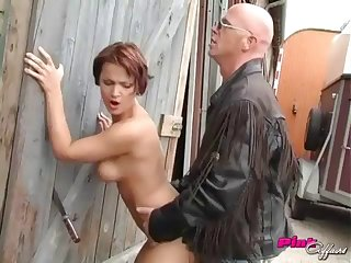 Heavenly short-haired girl gets into an outdoors pounding session