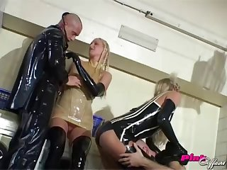 Two couples plus latex outfits makes for a kinky foursome