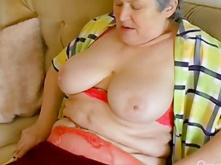 Seductive grandma solo striptease nude older mature breasts footage