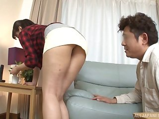 Provocative Asian babe allows her friend to doggy-style her pussy