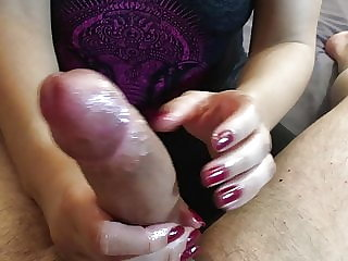 New Years Handjob with incredible Cock Polishing