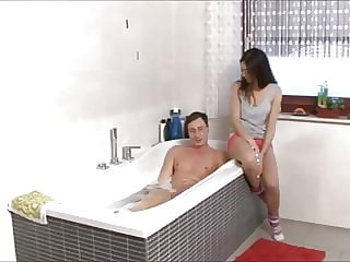 German brother and sister in bathroom