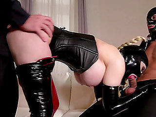 Kinky submissive slut Lucy Latex pounded in a hardcore threesome