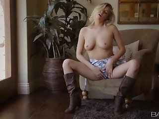 Blonde country girl opens her dress and flashes her sexy tits