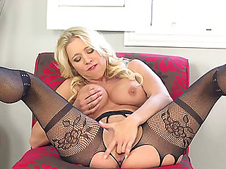 Solo blonde mature, Katie Morgan is eagerly mas