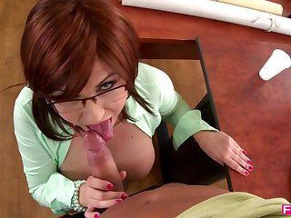 Big tits teacher seduces a student in class