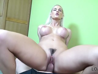 Cock riding blonde Euro slut has a great pair of big tits