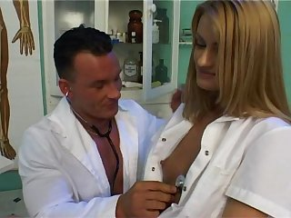 Attractive chick allows the experienced doctor to cure her pussy