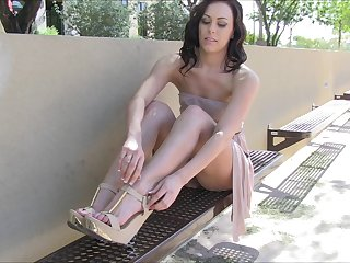 Tight shaved pussy flashing of a hot girl in public