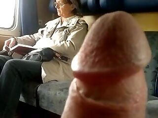 Jerking off dick in the train