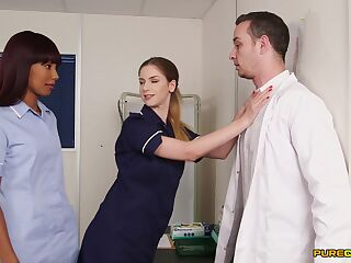 Naughty nurses Sade Rose and Stella Cox pleasure one doctor