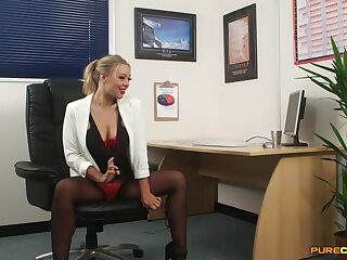Desirable secretary Beth Bennett strips to tease her boss. HD