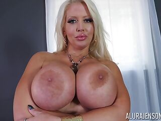 Busty blonde pornstar, Alura Jenson is sucking her horny neighbor's dick, free of any charge