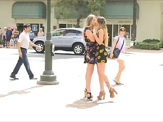 Naughty Hotties In Waikiki wearing sexy dresses are without pants as they masturbate on public