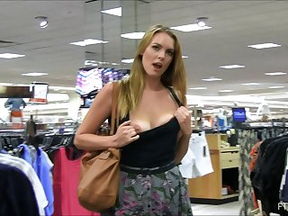 Go shopping with a pretty girl that masturbates in the dressing room