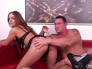 Skimpy lingerie on a hottie fucking the muscular stud