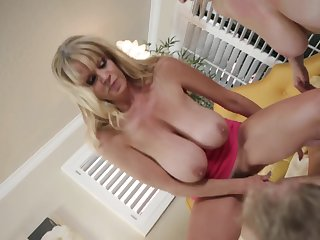 Desirable blondes with big tits engage in the crazy cock ride