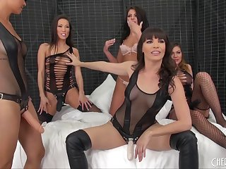 A bunch of captivating chicks engage in the amazing lesbian action